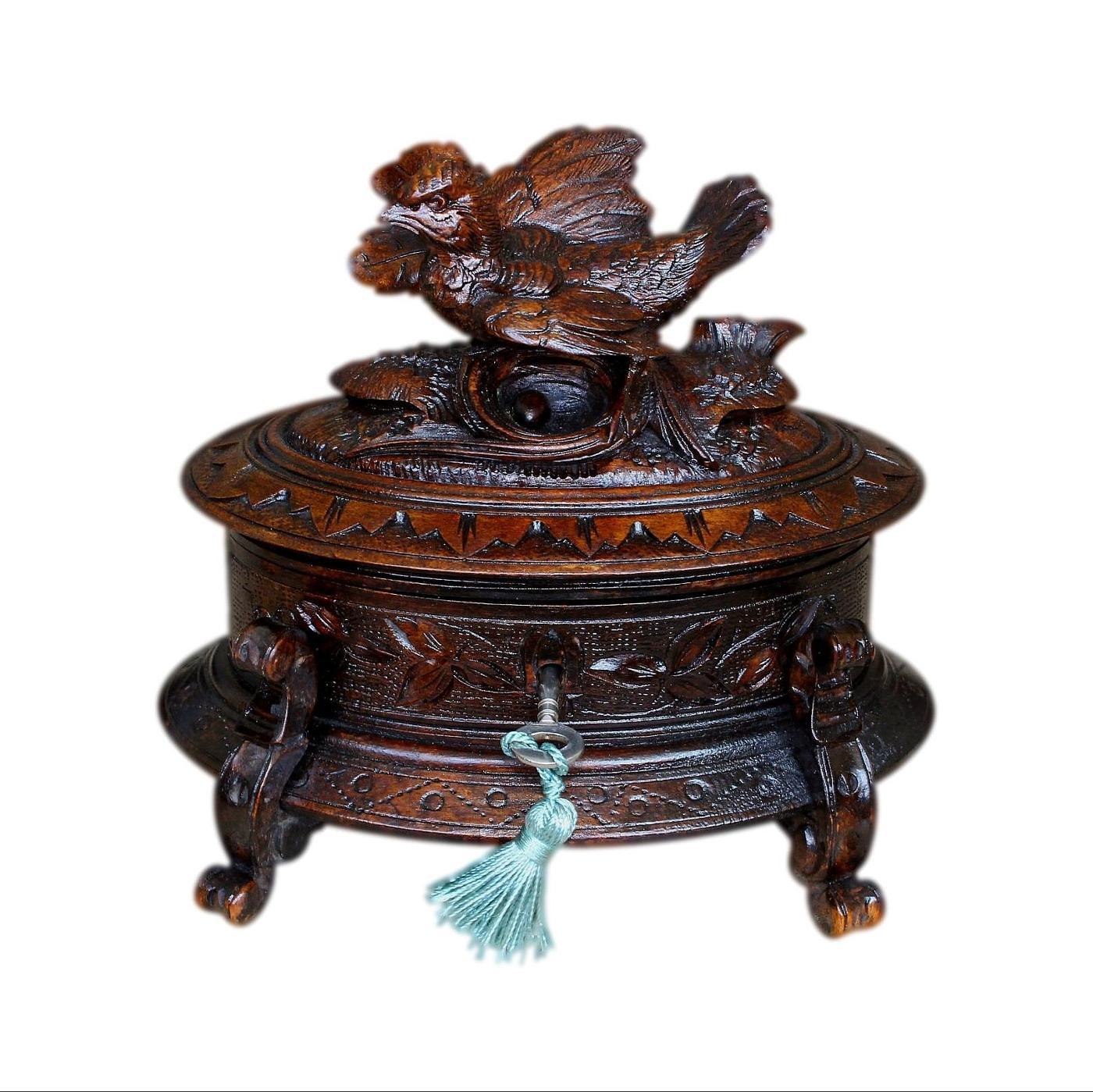 Antique Velvet Lined Black Forest Jewellery Box