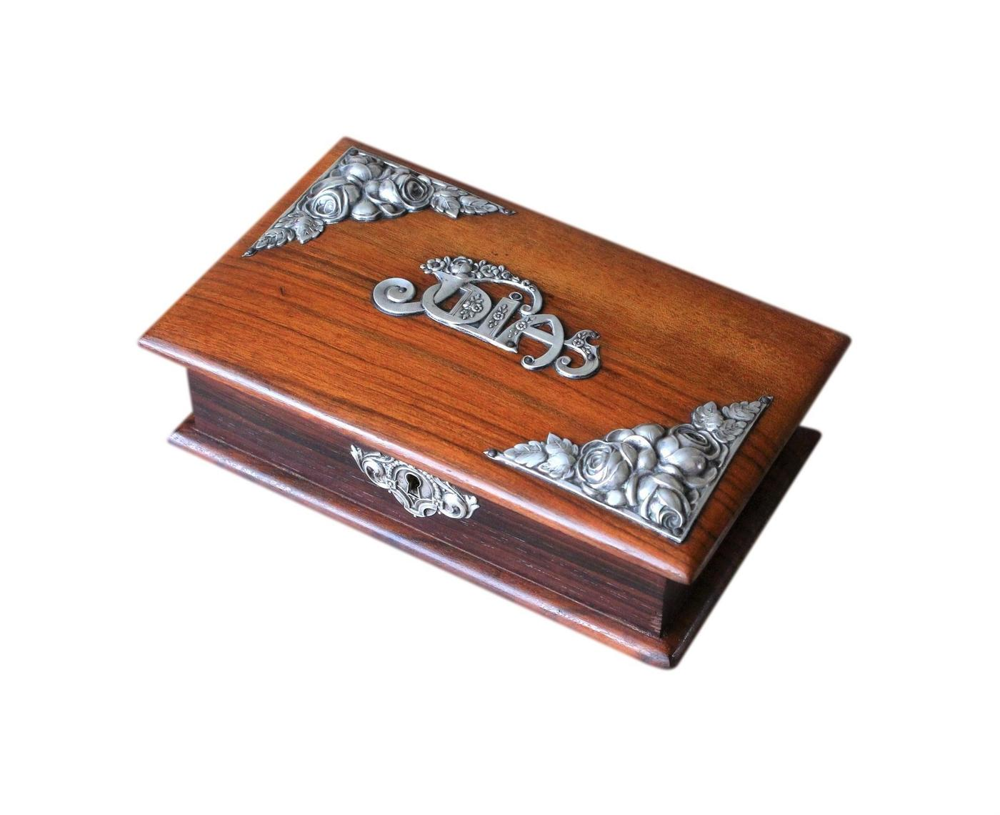 1930s Portuguese Rosewood And Silver Jewellery Box
