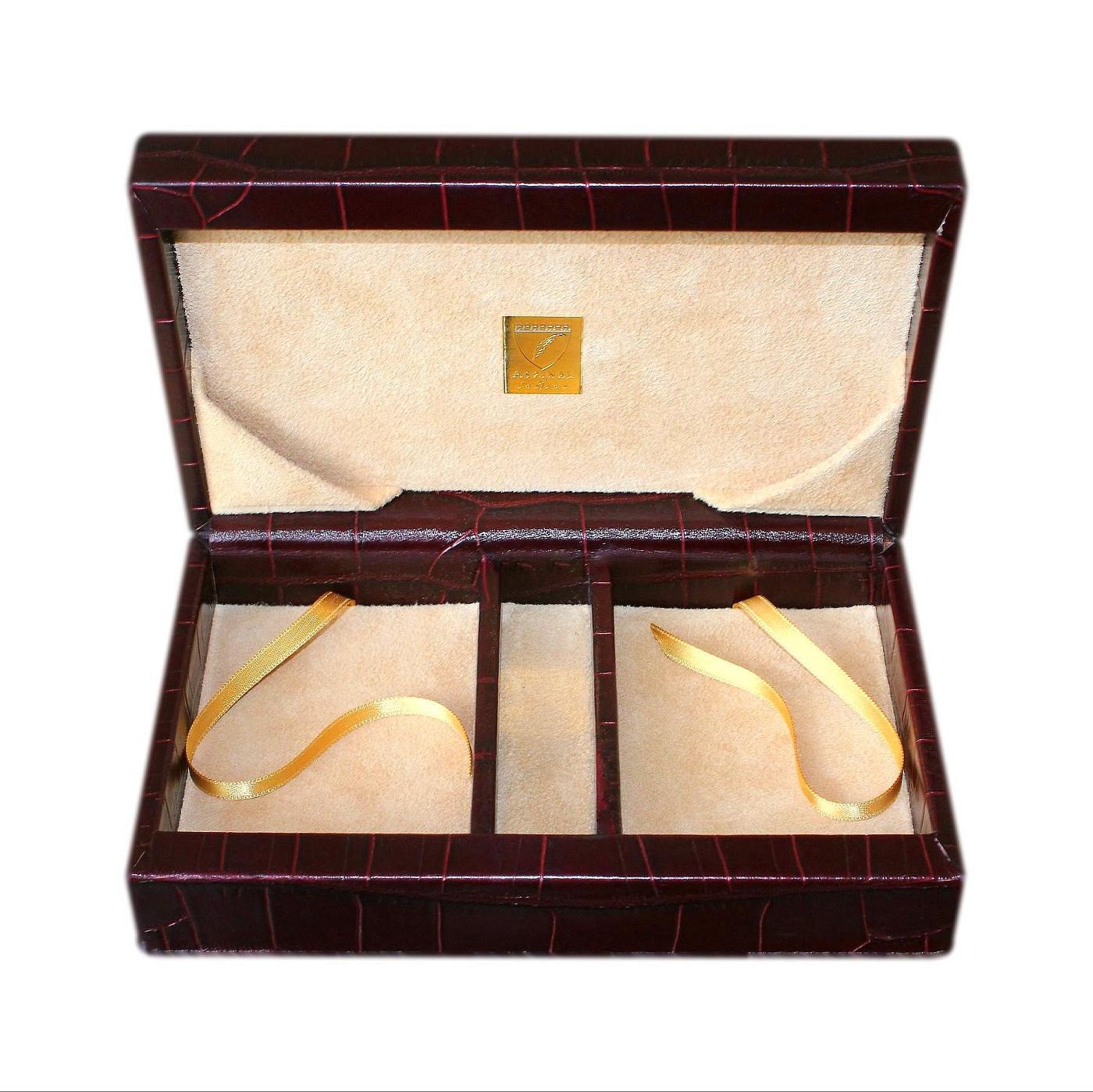 Aspinal Of London Leather Croc Print Jewellery Box