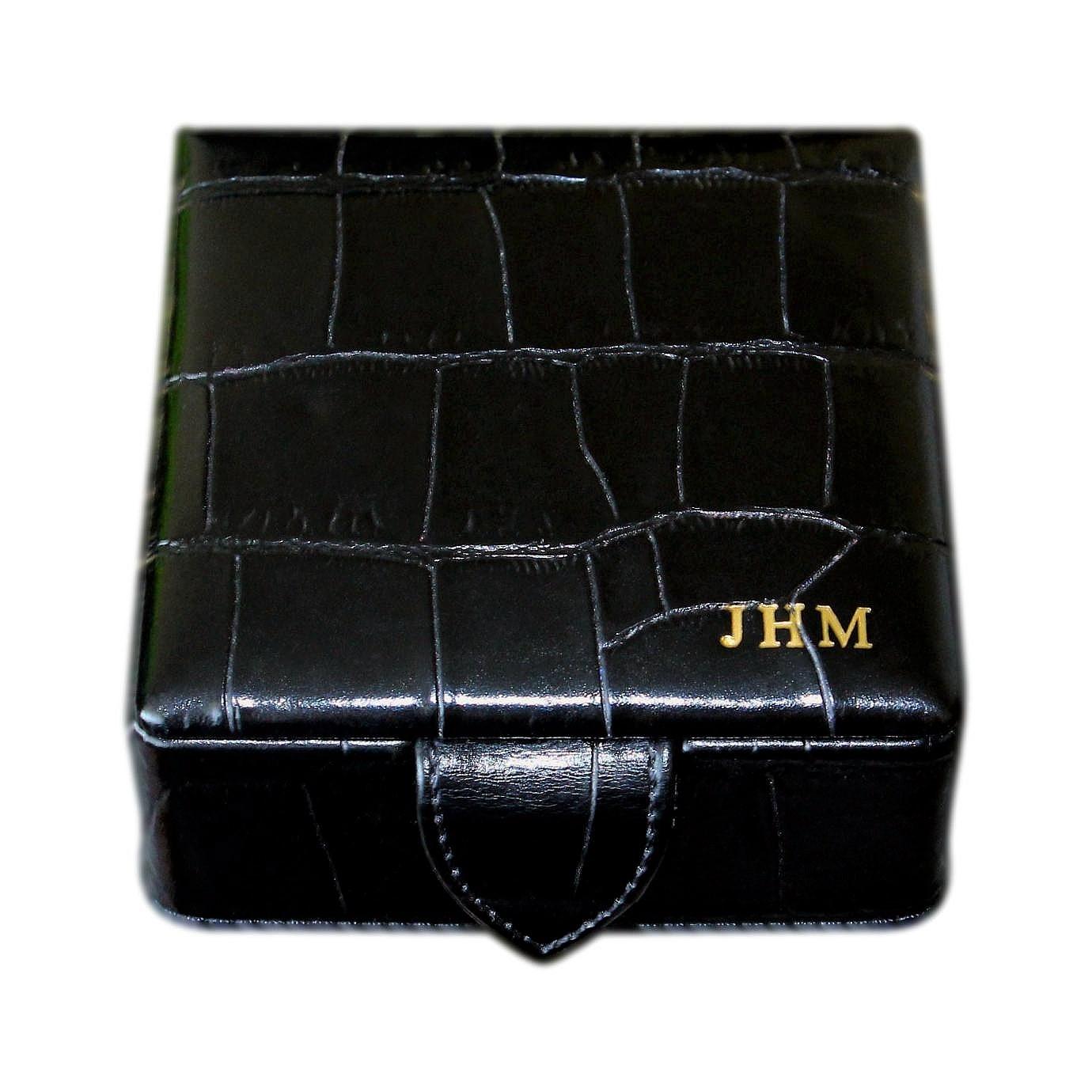 High Quality Aspinal Black Leather Croc Print Box