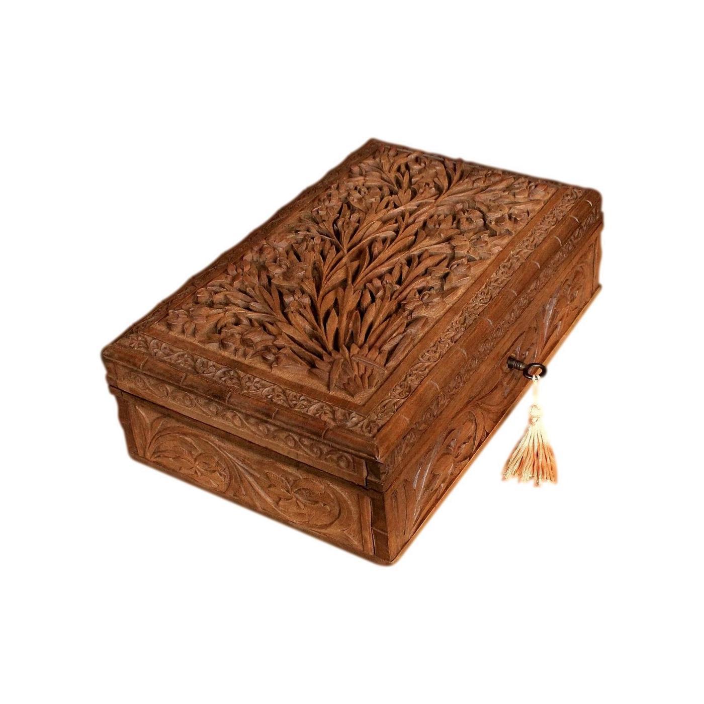 Vintage Mid 20th C Refurbished Kashmir Carved Walnut Jewellery Box