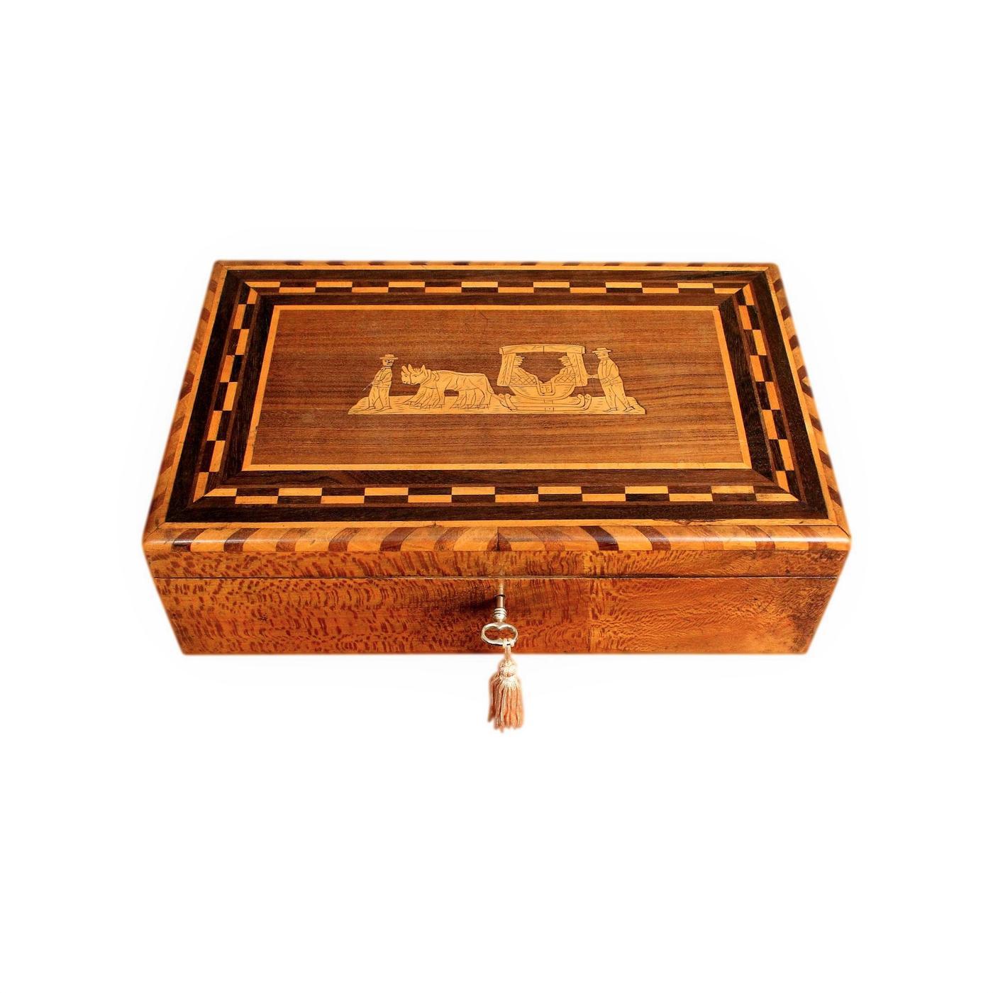 Rare Madeiran Marquetry Inlaid Vintage Snakewood Jewellery Box