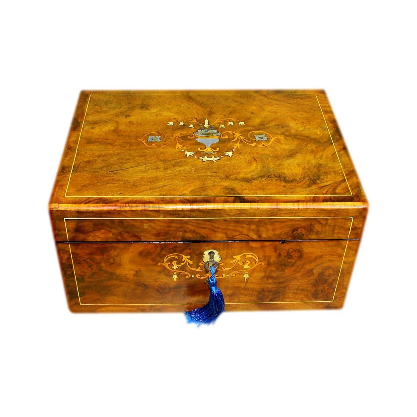 Beautifully Refurbished Antique Inlaid Walnut Jewellery Box