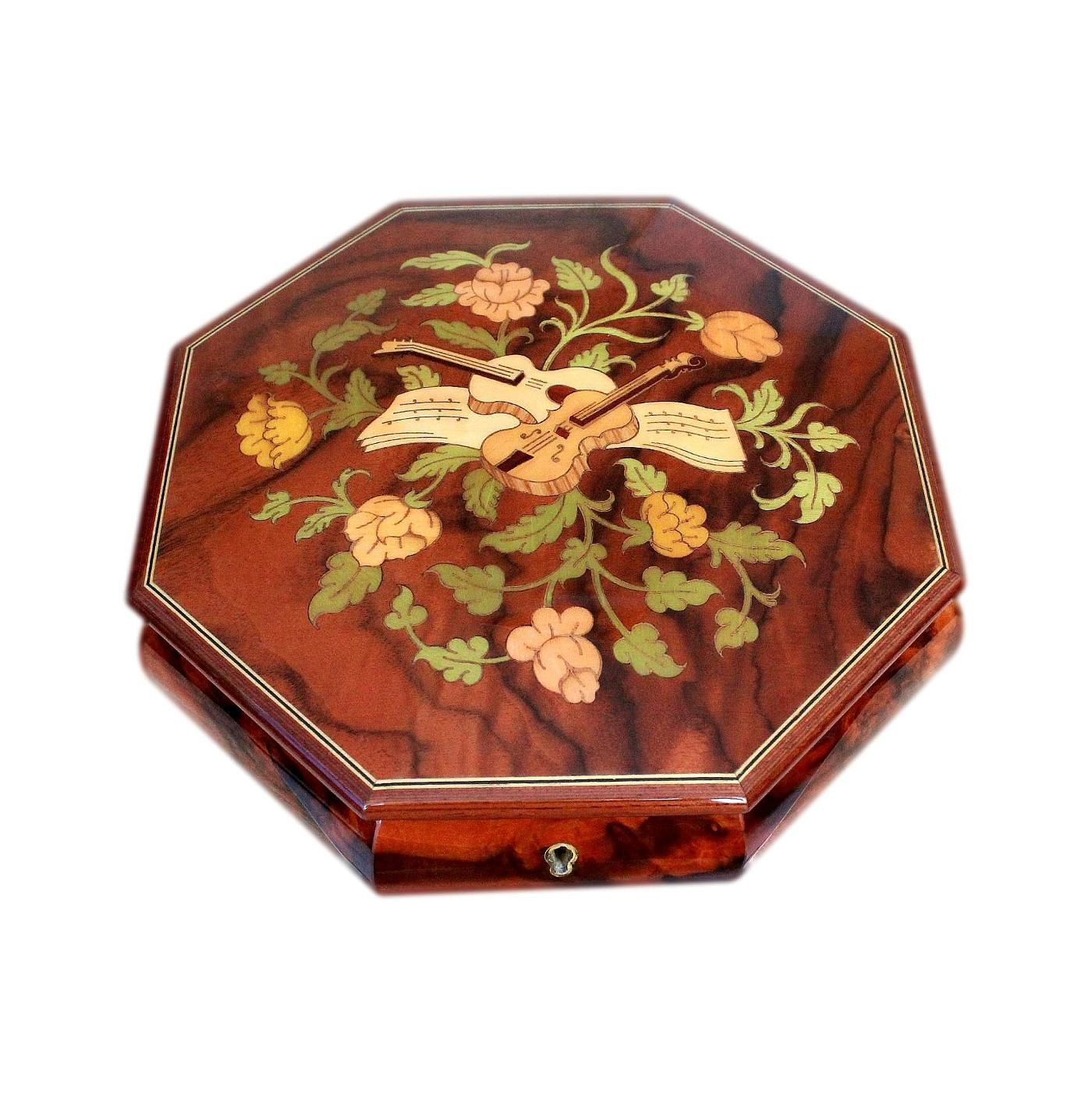 Superb Sorrento Vintage Musical Jewellery Box Enamelled And Inlaid