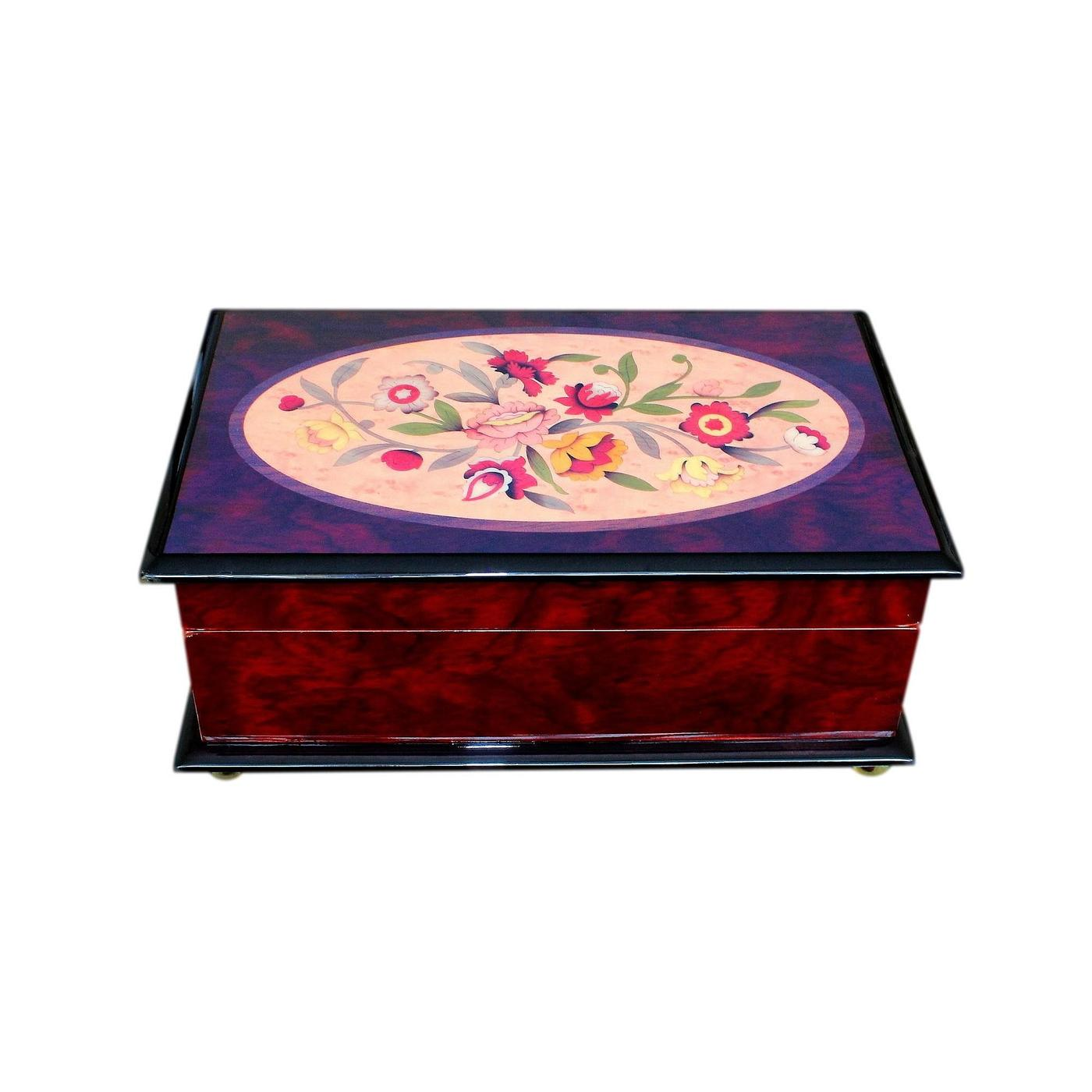 Beautiful Modern Floral Gloss Finished Musical Jewellery Box