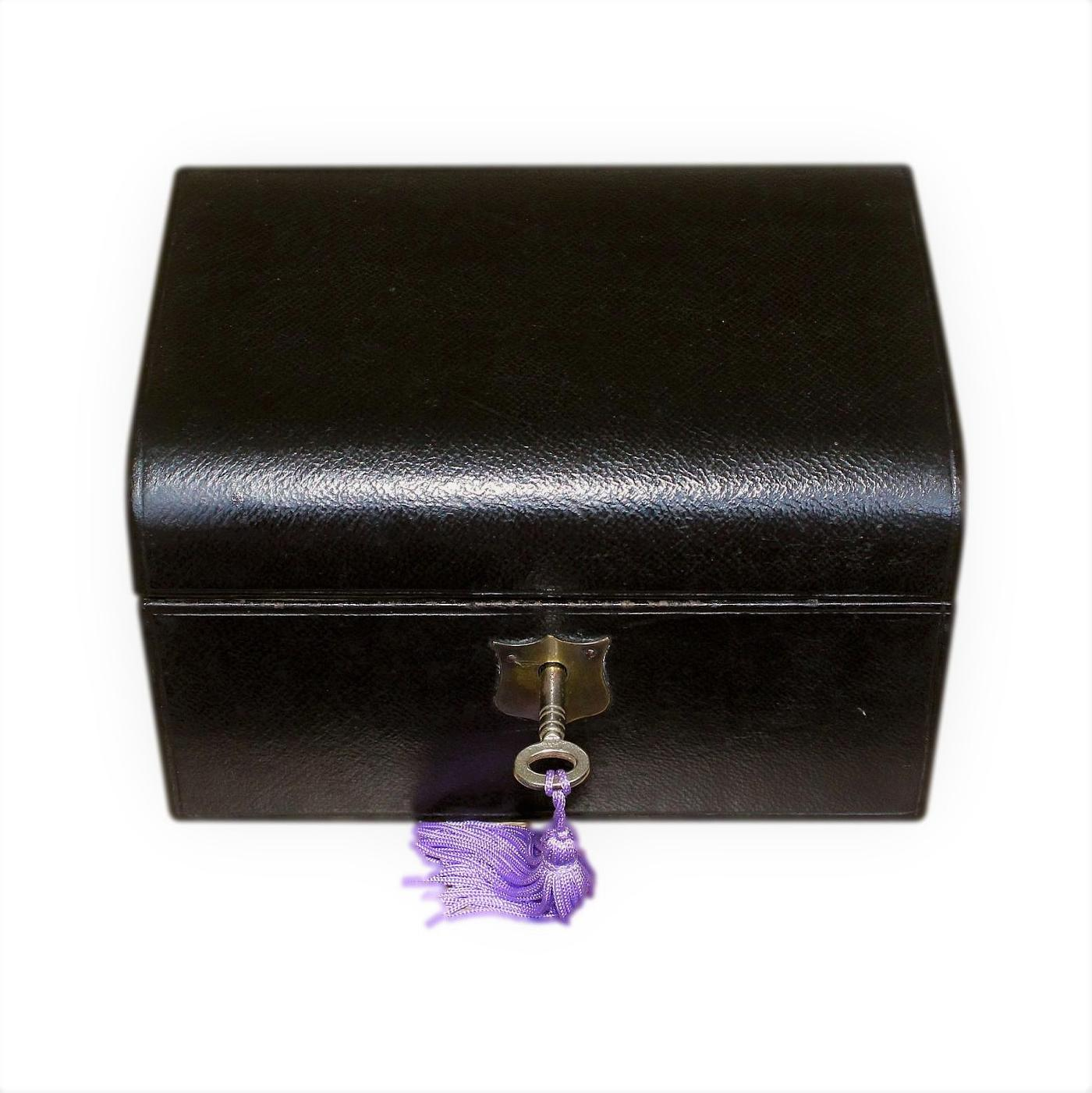 Lovely Antique Leather Jewellery Box With Drawer