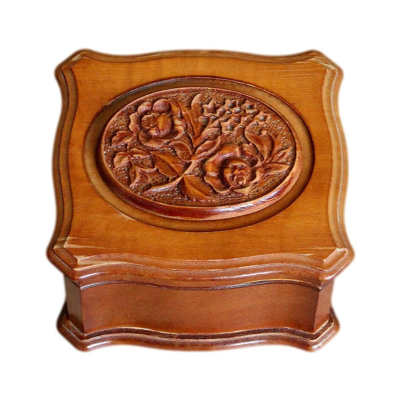 Lovely Swiss Hand Carved Vintage Musical Jewellery Box