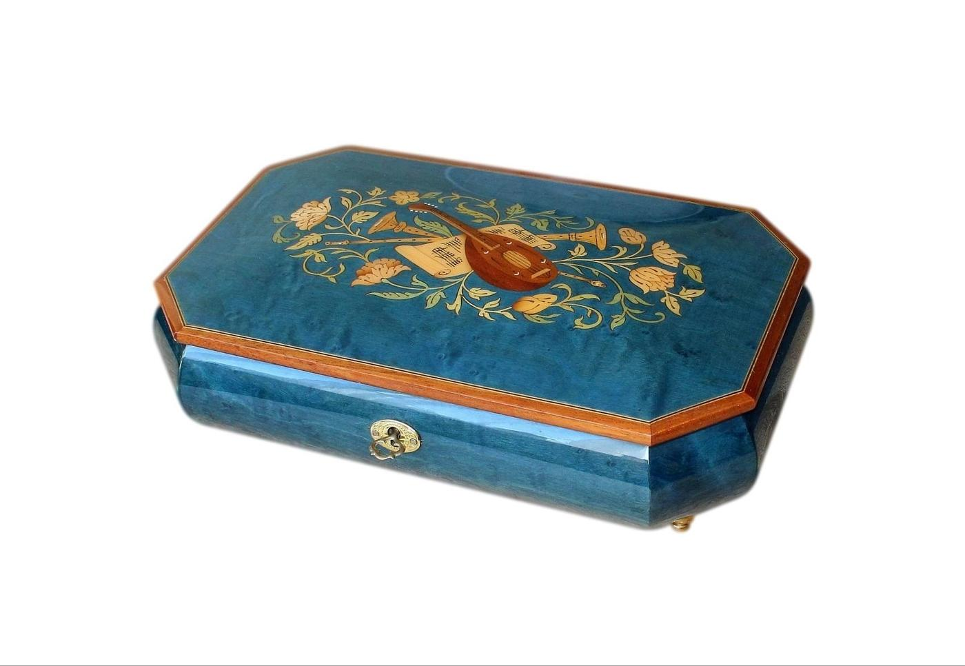 Stunning Sorrento Vintage Musical Jewellery Box Enamelled And Inlaid