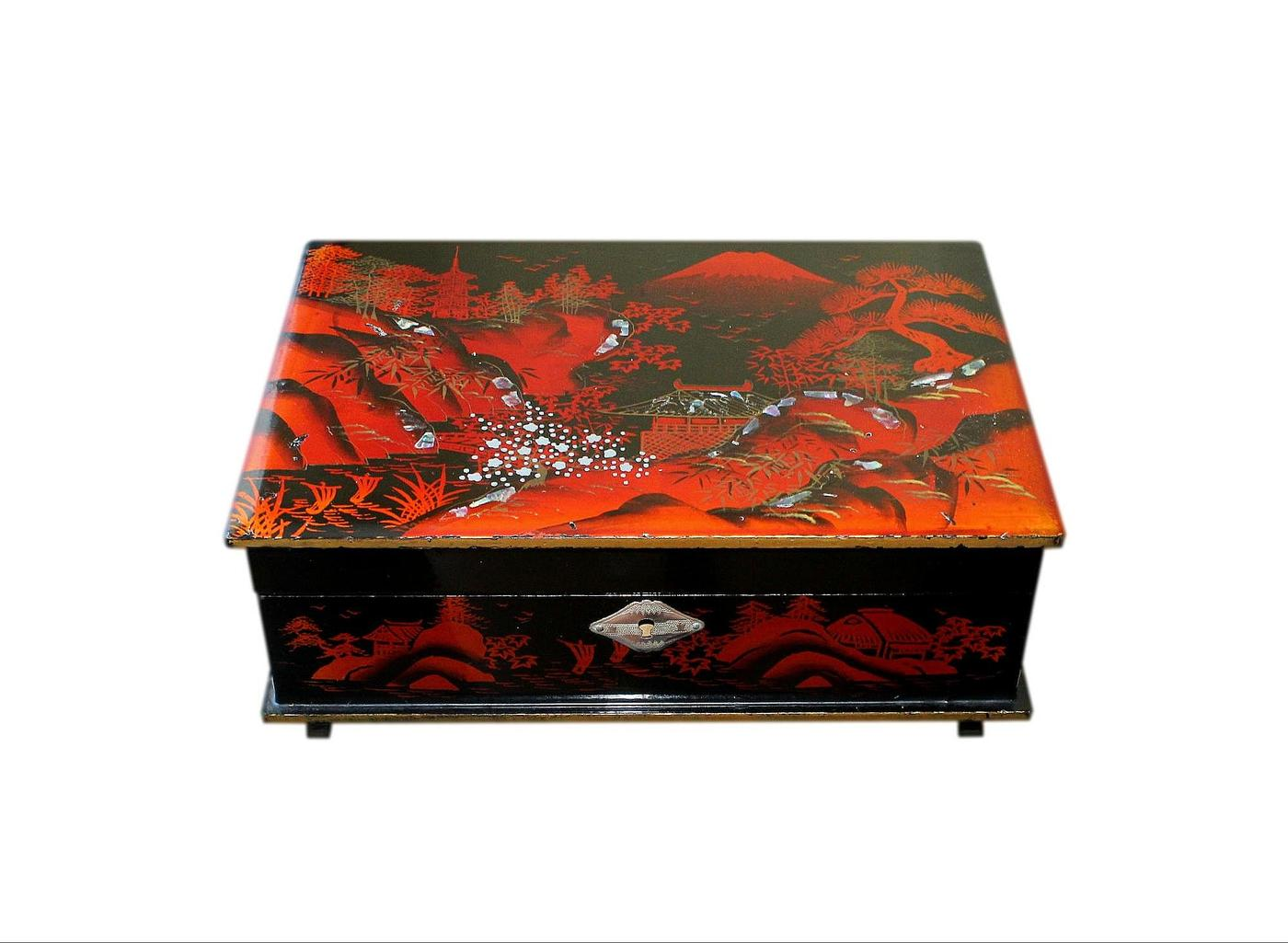 1950s Japanese Lacquered And Hand Painted Jewellery Box
