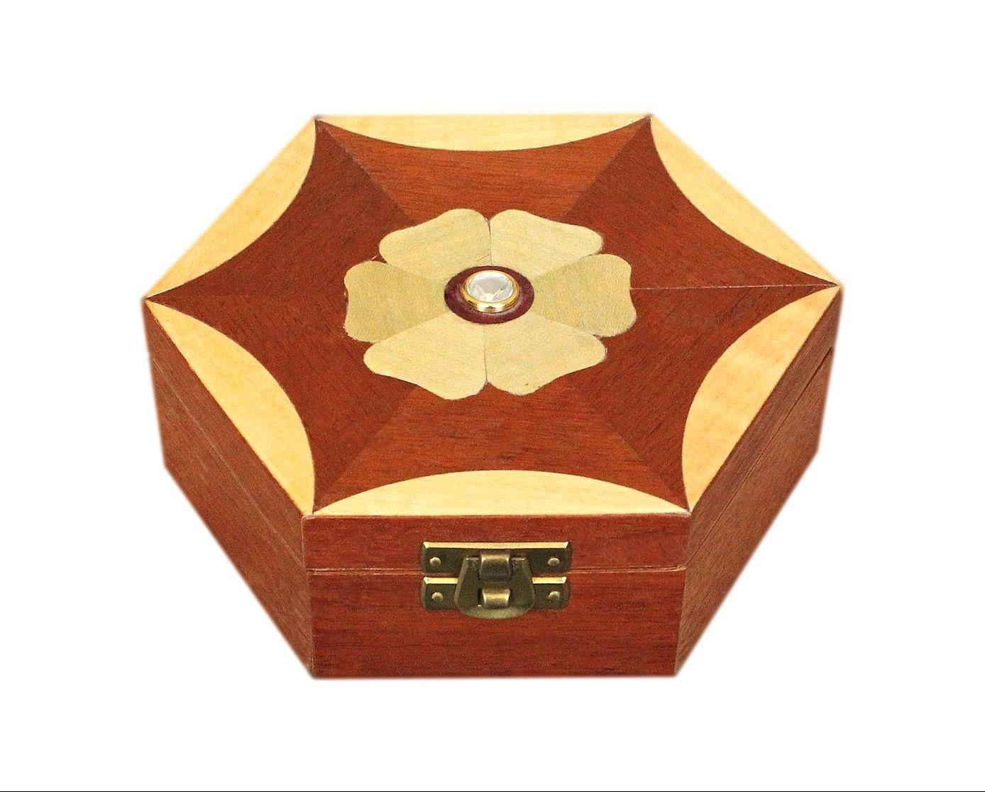 Beautiful Artisan Satinwood And Mahogany Jewellery Box