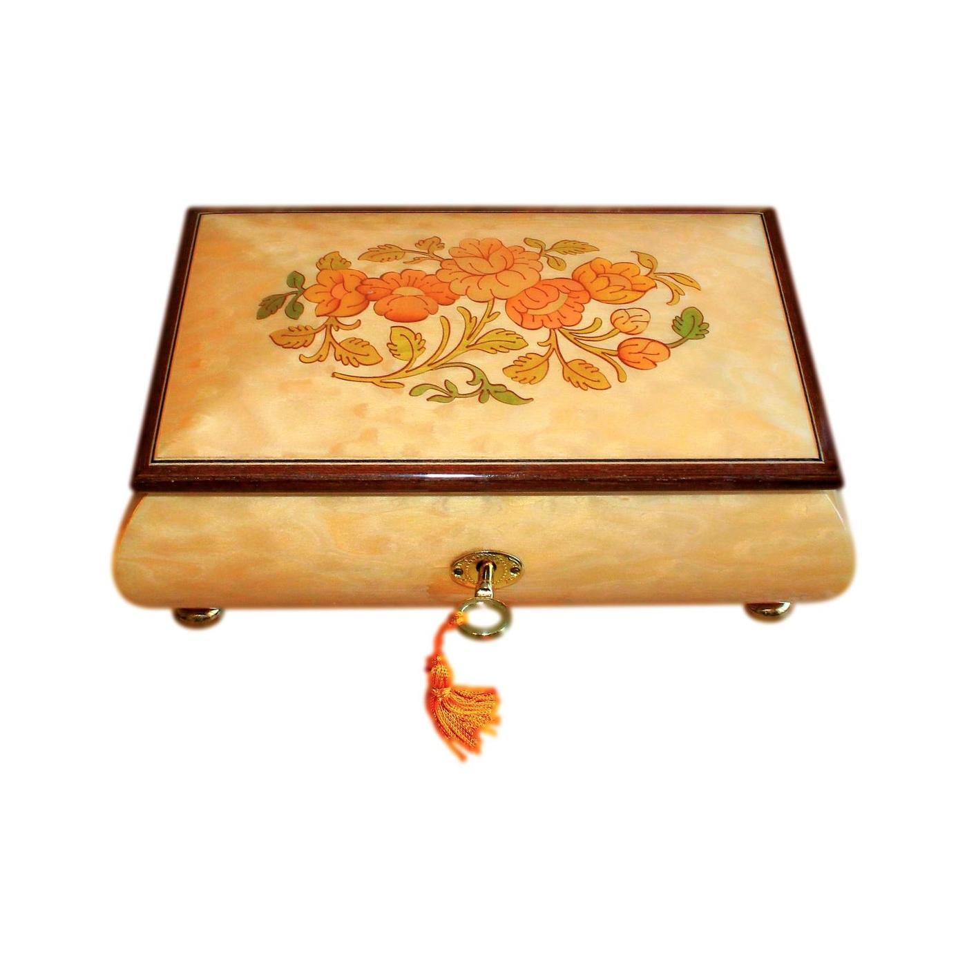 Velvet Lined Italian Inlaid Vintage Jewellery Box