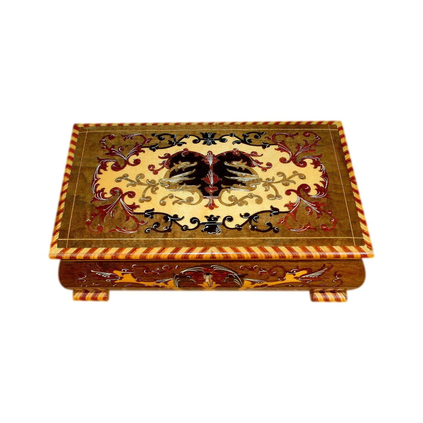 Beautiful Italian Musical Vintage Jewellery Box With Marquetry Inlay