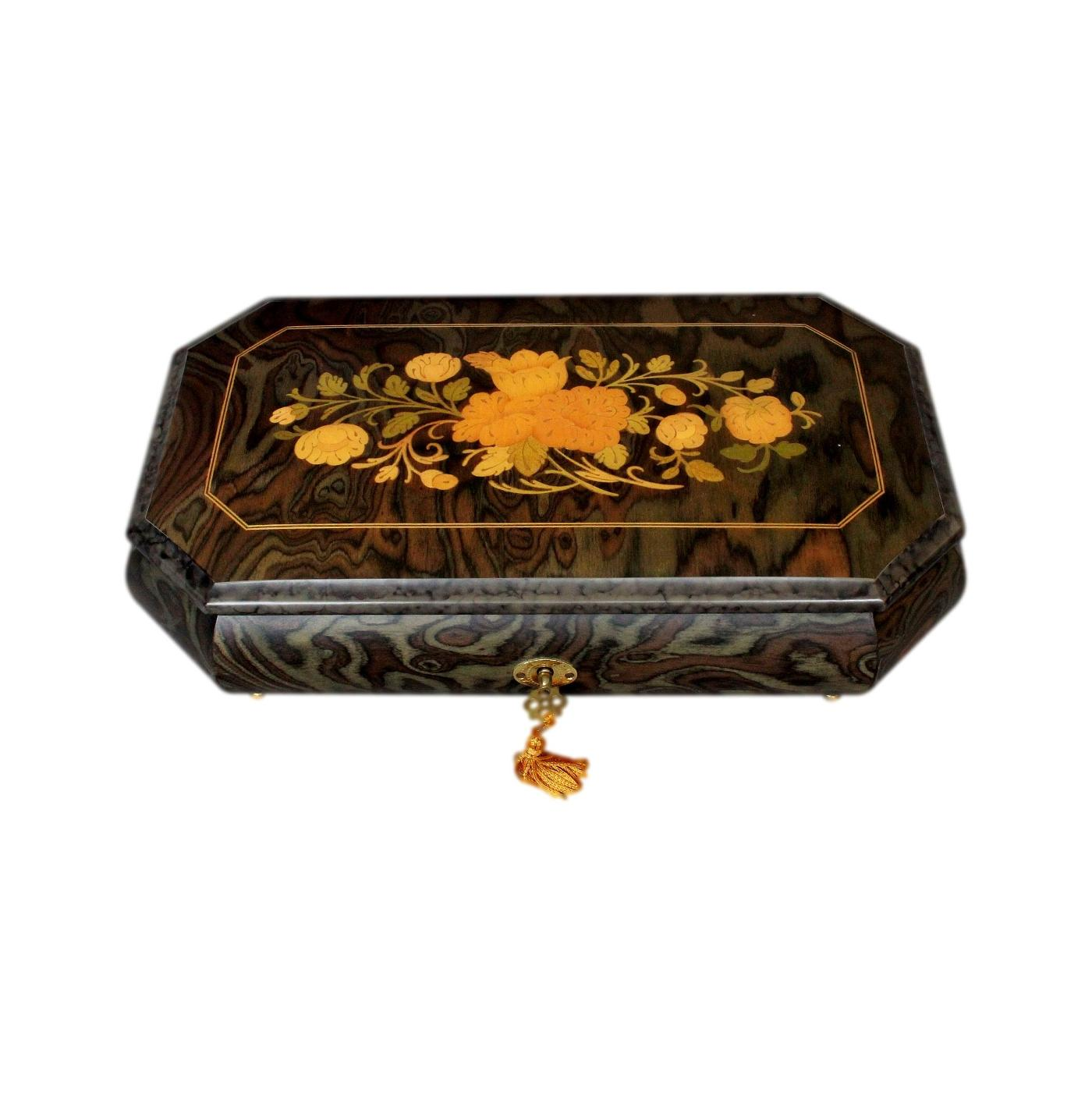 Flower Inlaid Sorrento Vintage Musical Jewellery Box