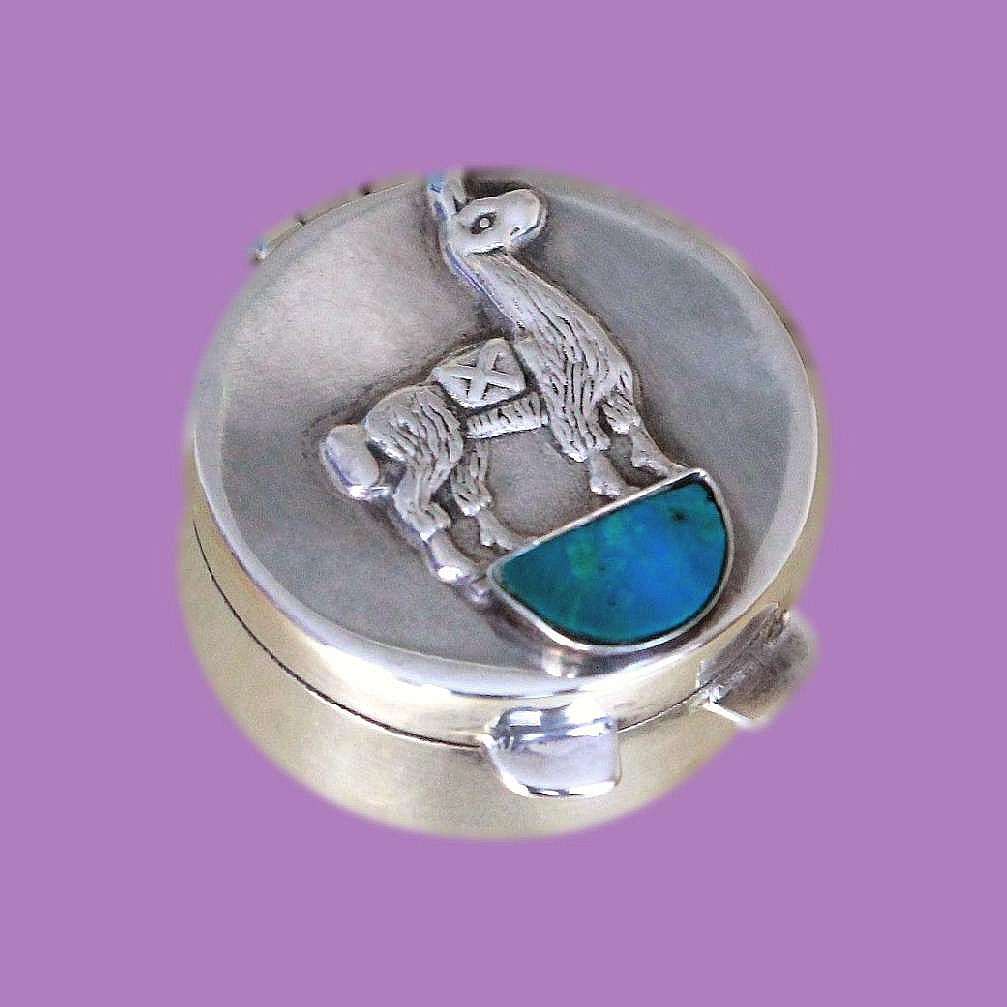 Mexican Sterling Silver And Turquoise Vintage Pill Box