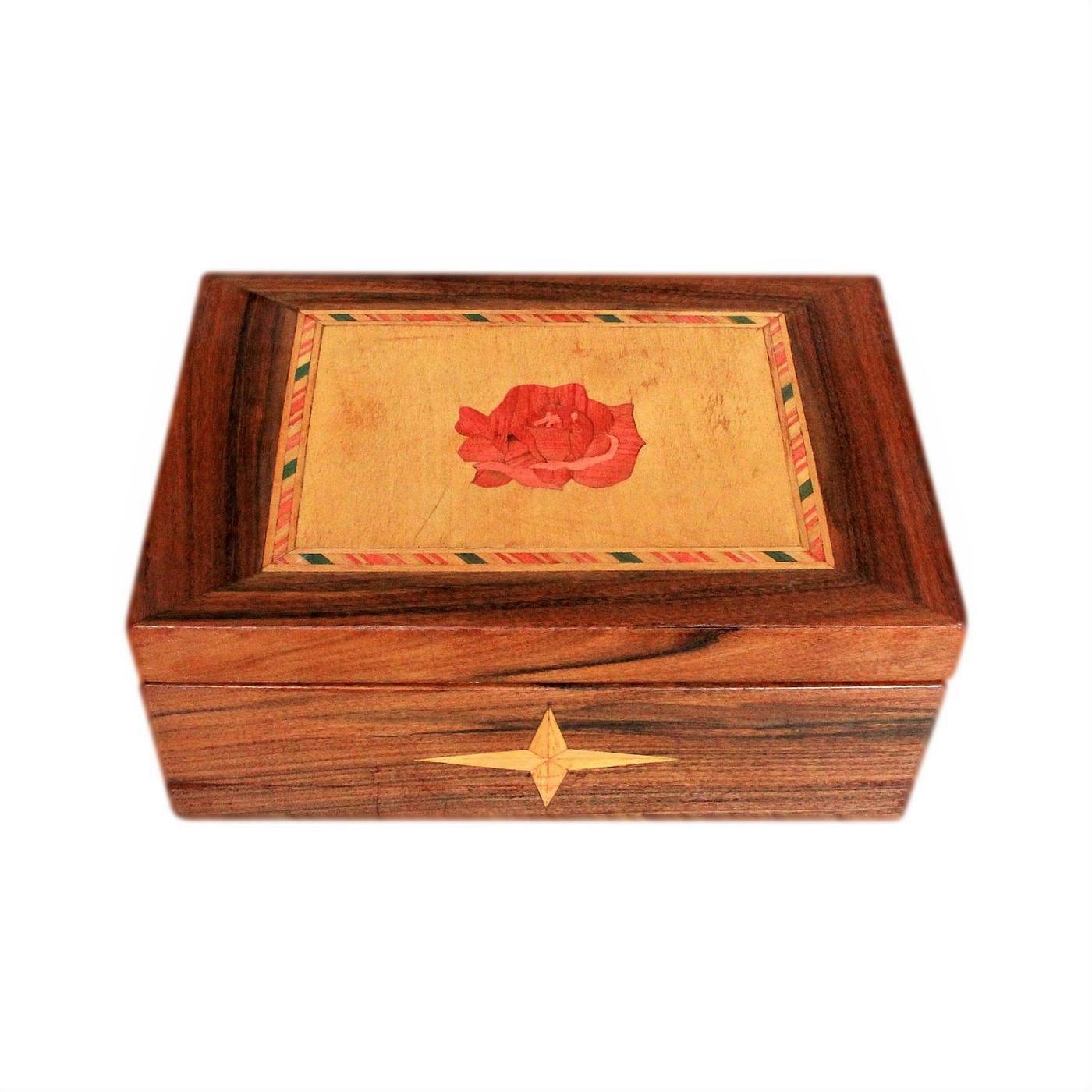 Pretty Satin Lined Rose Inlaid Vintage Jewellery Box