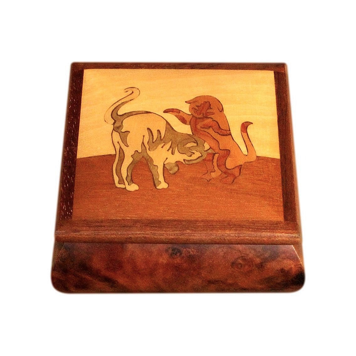 Vintage Sorrento Jewellery Box With Marquetry Inlaid Cats