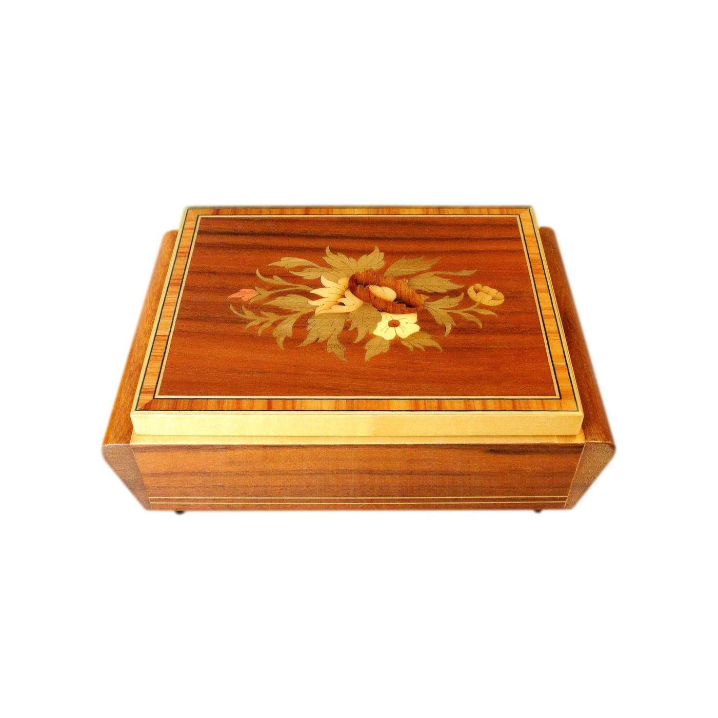 Beautiful Italian Marquetry Inlaid Vintage Musical Jewellery Box
