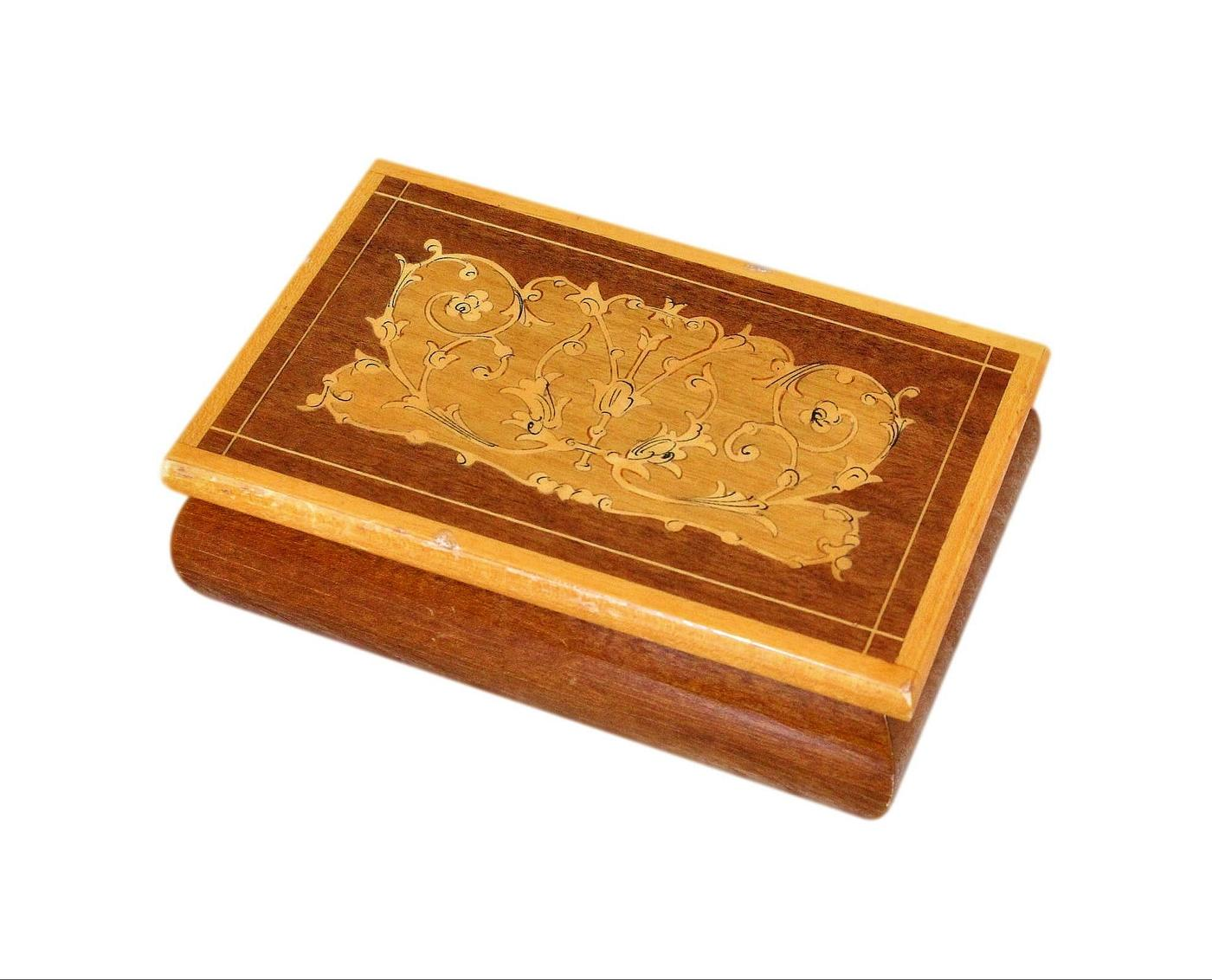 Lovely Italian Marquetry Inlaid Vintage Jewellery Box