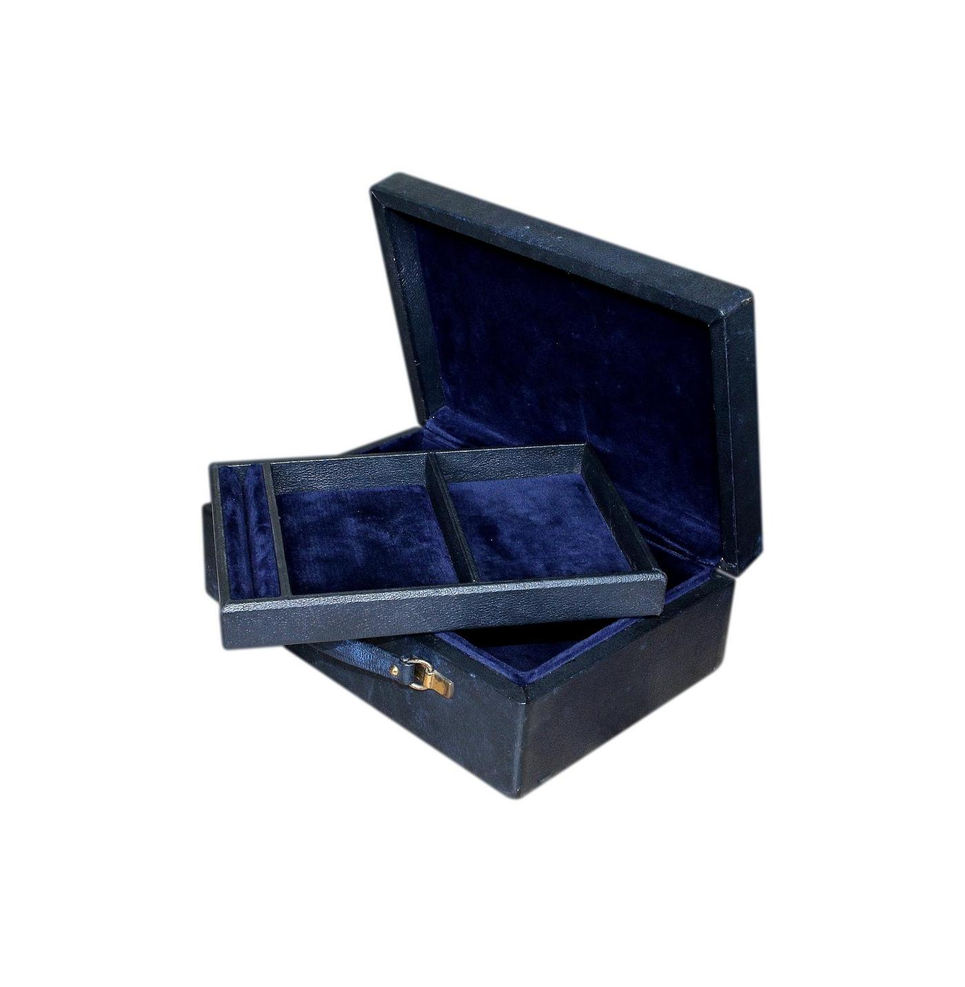 1980s Vintage Navy Blue Leather Jewellery Box