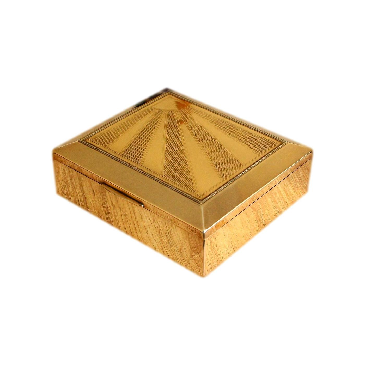 Solid Brass Art Deco Jewellery Box With Engraved Sunray Design