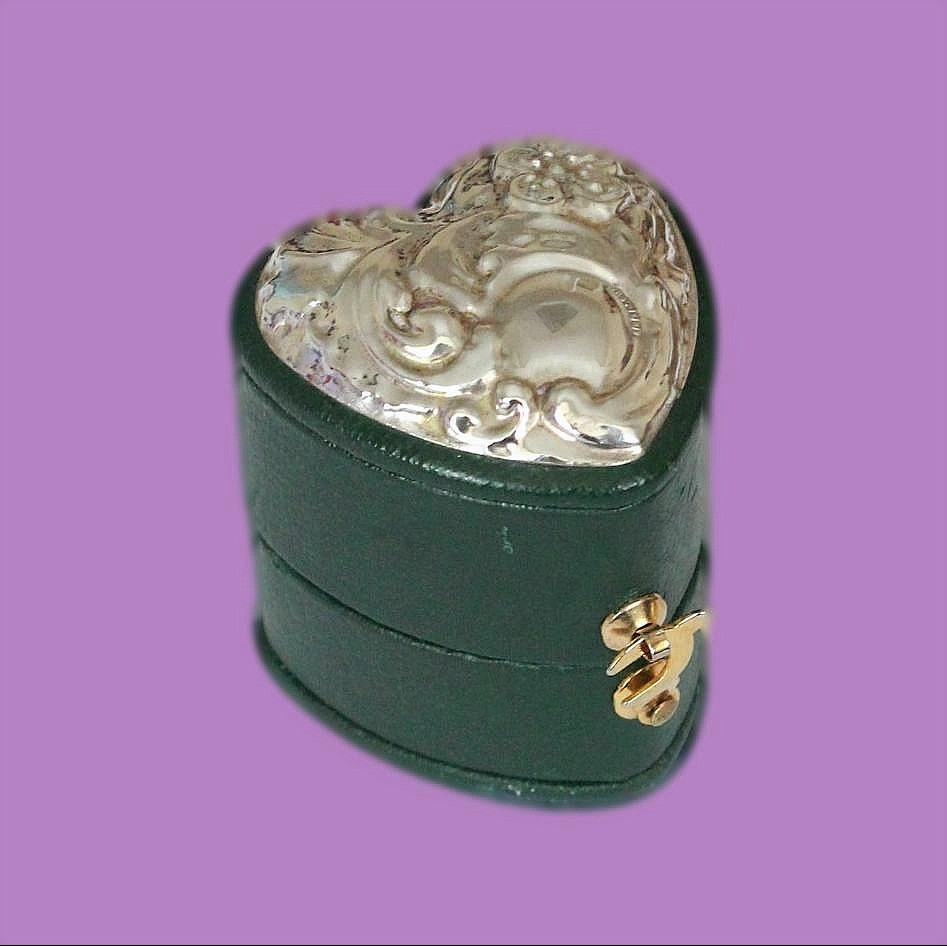 Beautiful Heart Shaped Leather And Silver Vintage Ring Box