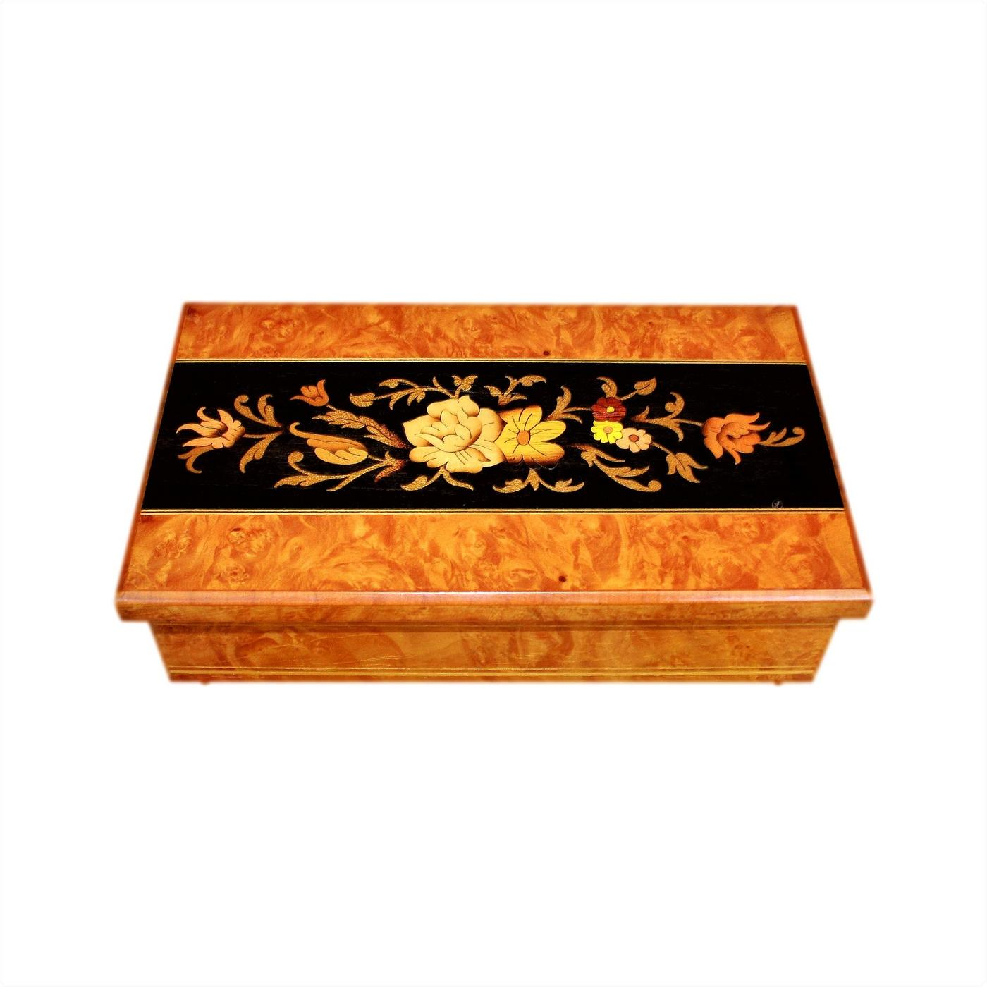 Beautiful Italian Musical Vintage Jewellery Box With Floral Inlay