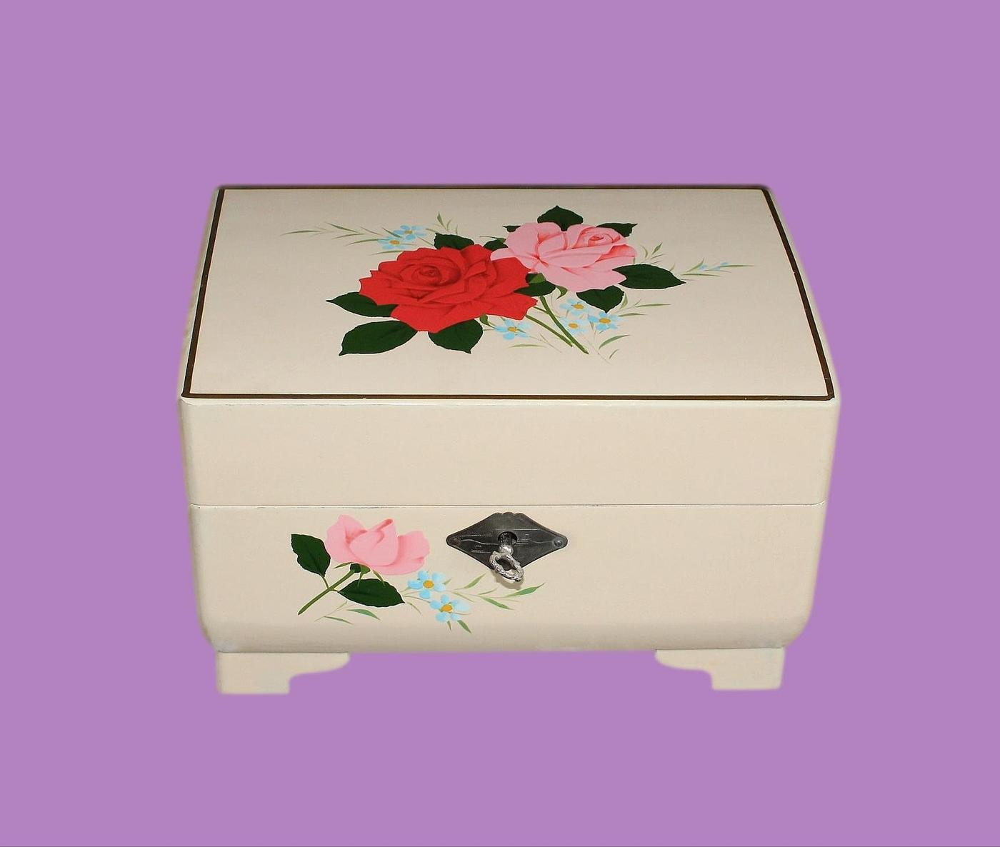 Pretty Japanese Vintage Musical Jewellery Box With Ballerina
