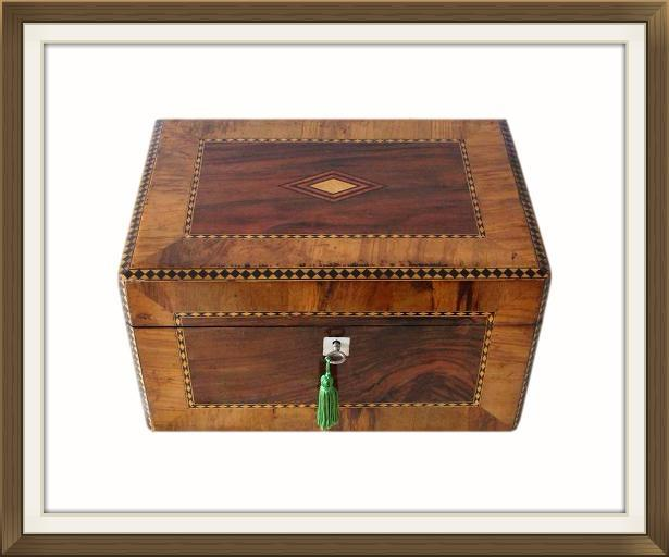 Large Antique Victorian Jewellery And Sewing Box