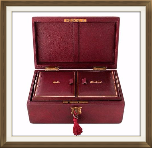 Antique Leather Gold And Silver Jewellery Box
