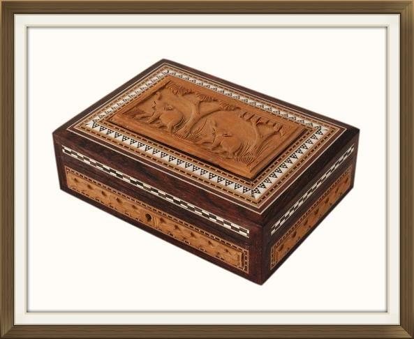 Vintage Anglo Indian Carved Inlaid Jewellery Box
