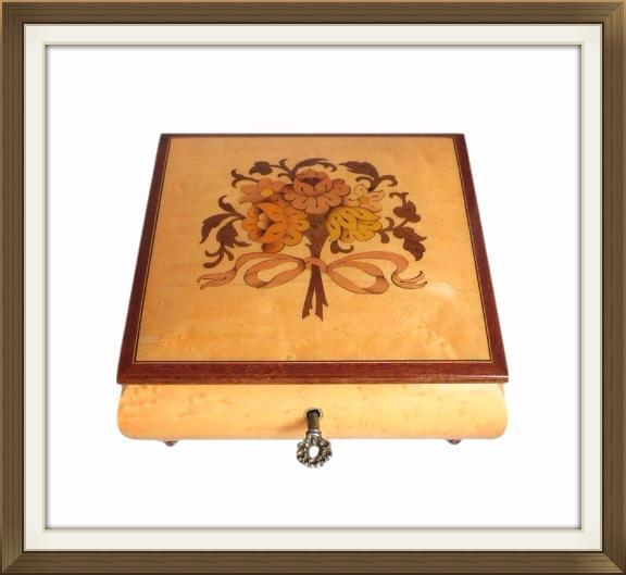Small Vintage Floral Inlaid Musical Jewellery Box