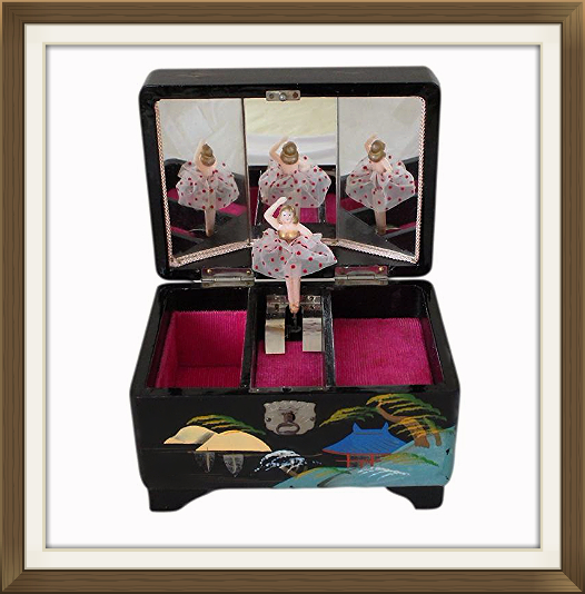 Small Vintage Lacquered Musical Jewellery Box