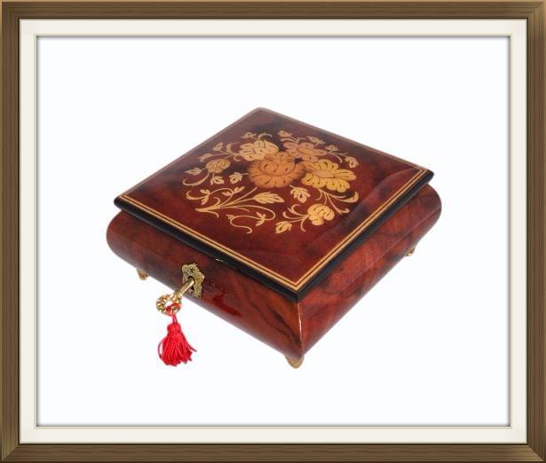 Small Vintage Italian Inlaid Musical Jewellery Box