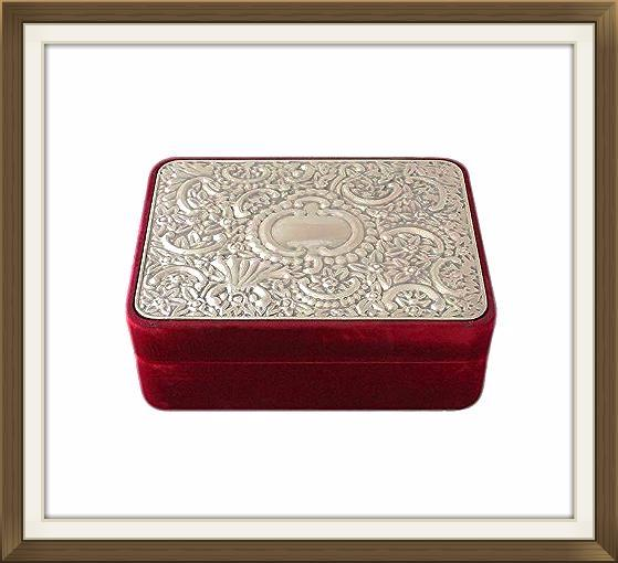 Beautiful Vintage Velvet Silver Plated Jewellery Box