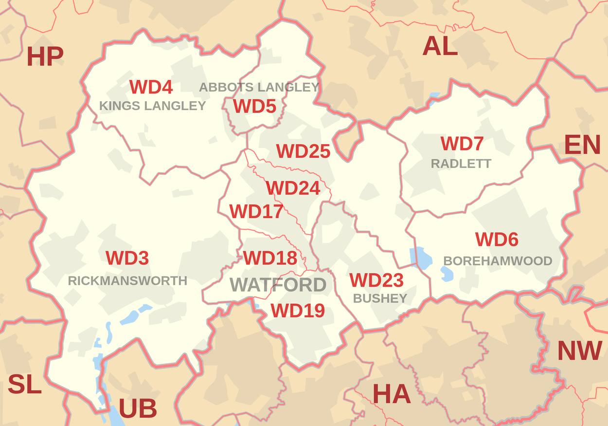 Areas covered by plumber watford