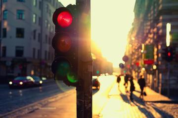 Stopping at traffic light in Merton