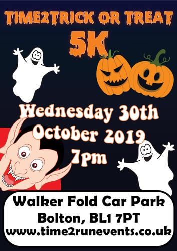 Time2Trick Or Treat 5k   - Wednesday 30th October 7pm Come and join us for a spooky, hilly trail run in the dark!