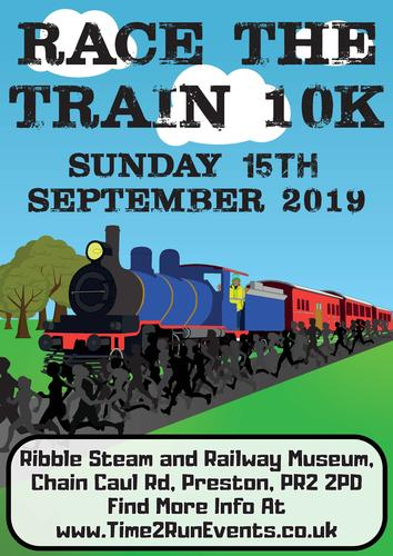 Race The Train Preston 10k - 15th September 2019 The route is an out and back, starting at the Ribble Steam Railway and Museum, following the tracks on a race against the train