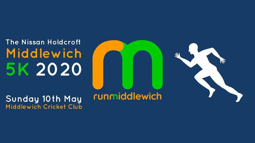 The Nissan Holdcroft Middlewich 5K Race - Sunday 10th May 2020 Join us on May 10th 2020 for the official Middlewich 5k sponsored by Nissan Holdcroft.  The route is mostly off road, taking in some of the beautiful canals and trails of the town.  The race will be officially measured and will be chip timed.  Although mostly flat, runners will face the famous Middlewich 3 Lock Challenge.  All runners will receive a Medal and a goodie bag.