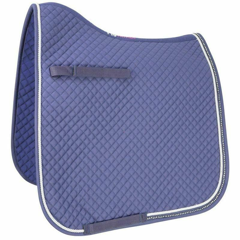 HYWITHER DIAMOND TOUCH DRESSAGE SADDLE PAD DARK NAVY AND BLACK COB/ FULL