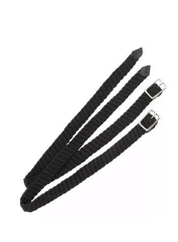 SHIRES PLAITED NYLON SPUR STRAPS BLACK 1.5
