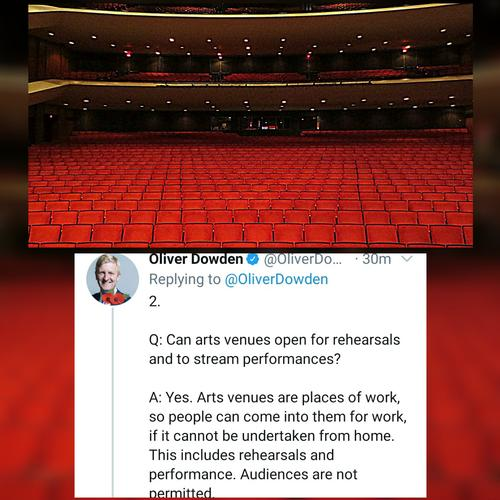 Oliver Dowden: theatres can be open but without audience - News The tweet from the Culture Secretary