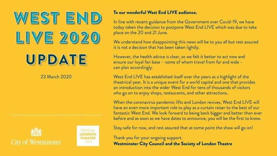 West End Live Postponed - News Oh..
