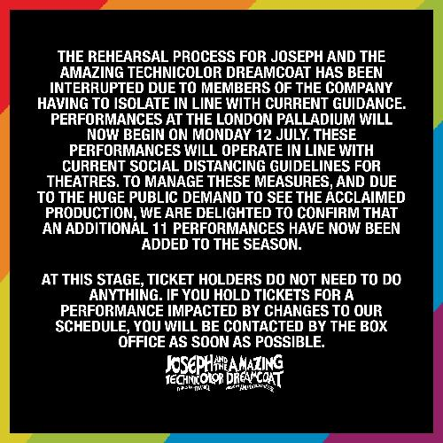Covid delays Joseph - News The show will now start 12th of July