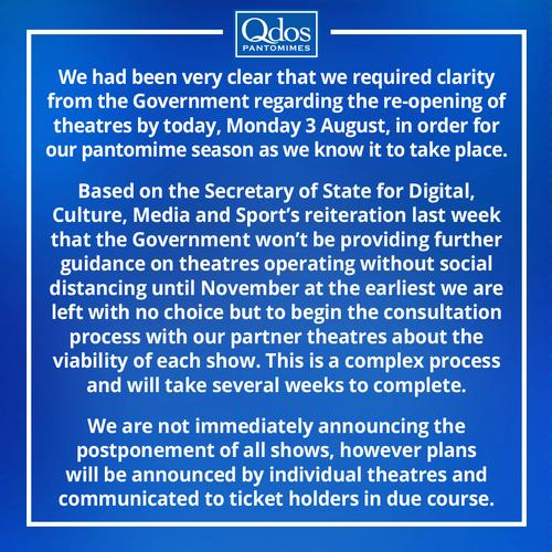 Will Christmas pantos be cancelled this year? - News Qdos' statement about Christmas Pantos