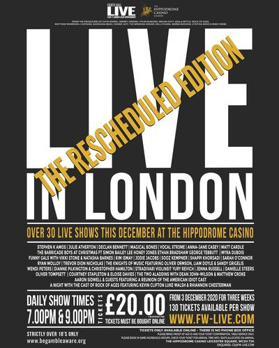 Live in London New Performance Schedule - News A  new schedule for the performances