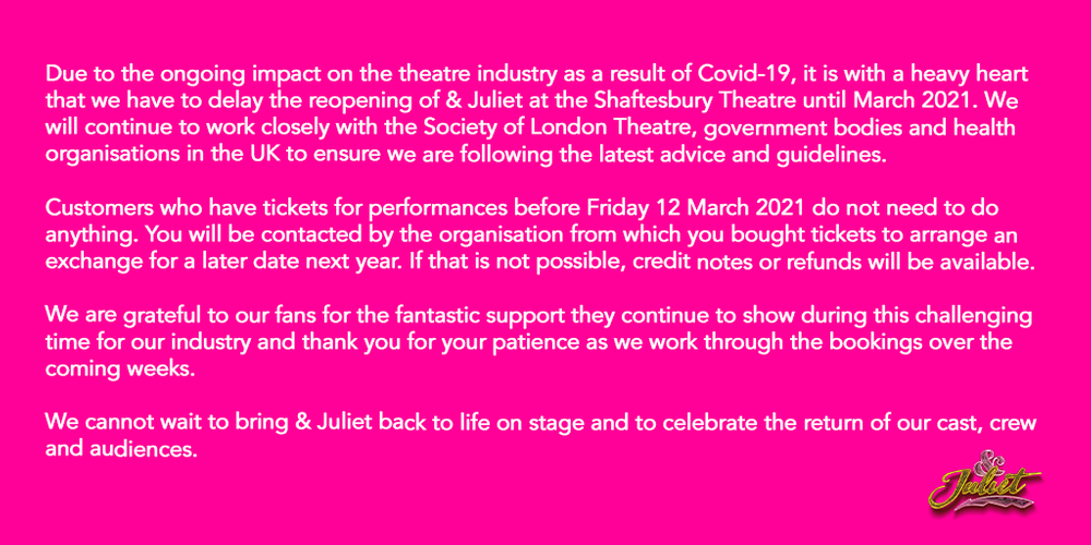 & Juliet will reopen in March 2021 - News And we cannot wait to go back