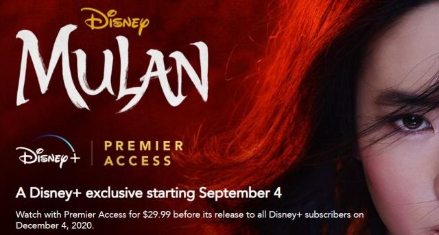 Mulan on Disney Plus - News September 4..or December 4