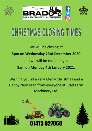 Christmas Closing Times We will be closing on 23rd December 2020 and reopening on 4th January 2021.