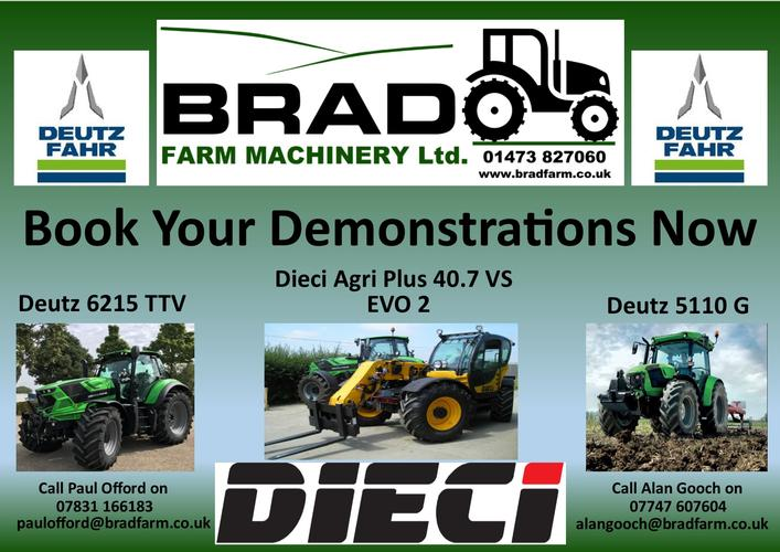 Book Your Demonstration Now! Dieci Telehandler & Deutz-Fahr Tractors available for demonstrations.